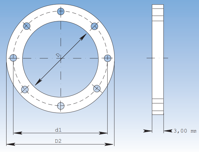 Flanges - drawing, se meassurement in the table